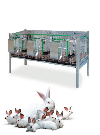 Cage for fattening rabbits 3 compartments 120 cm