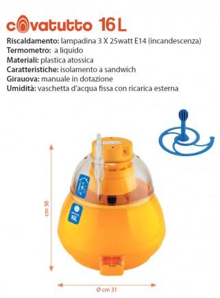 Analog 16L incubator with manual egg turner