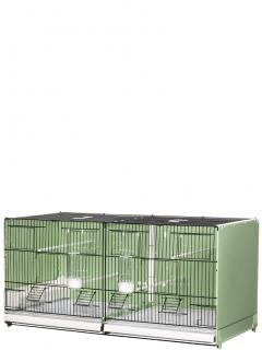 Gabbia cova cm.90 verniciata nera/verde laterali e retro chiusi in plastica mang. interne ed esterne - 1