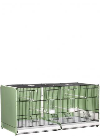 Gabbia cova cm.90 verniciata nera/verde laterali e retro chiusi in plastica mang. interne ed esterne