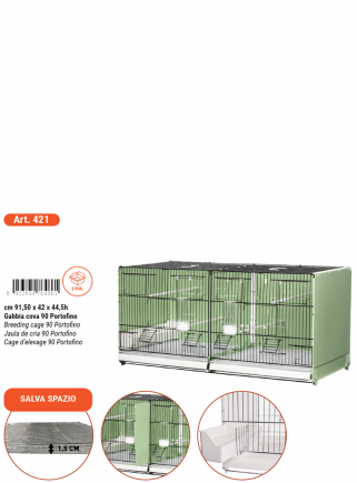 Breeding cage cm.90 Portofino vern. green / black side and back closed mang. int. and east. - 6