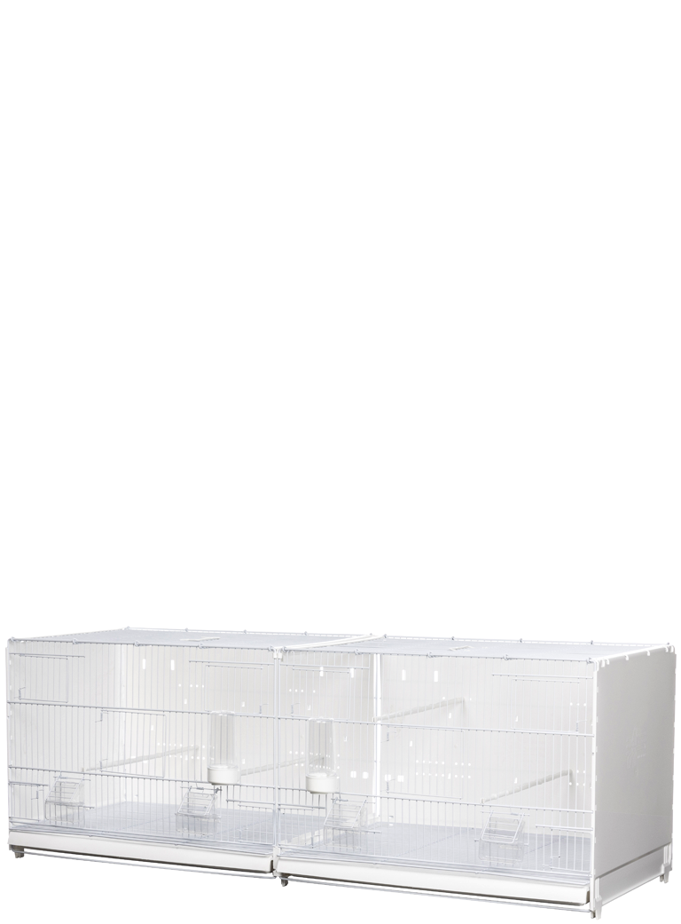Hatching cage 120 Painted curtain side and back closed in plastic - 1