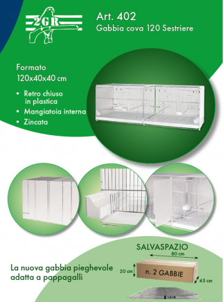 Hatching cage 120 cm Sestriere galvanized side and back closed - 5