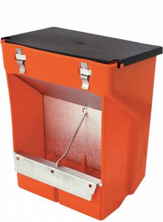 2-compartment plastic feeder with lid - 1