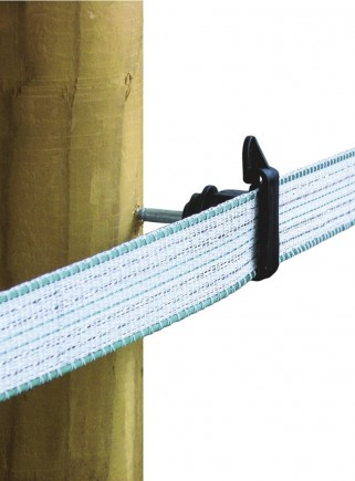 Tape insulator for wooden post